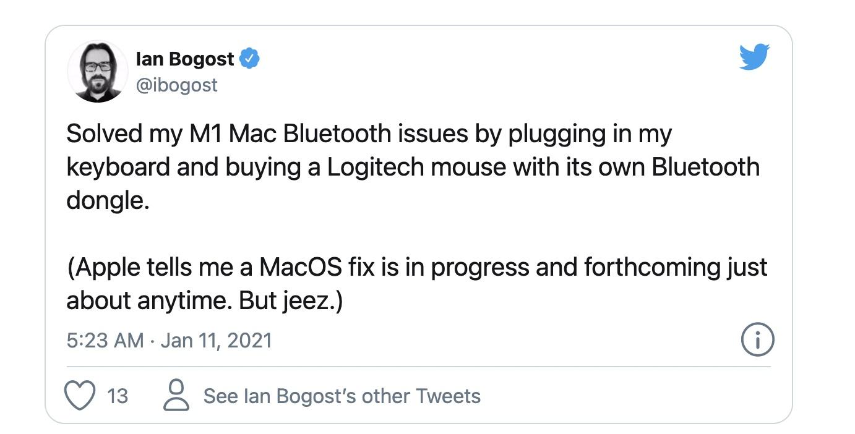 外媒:苹果 M1 芯片 Mac 蓝牙鼠标连接问题将得到修复