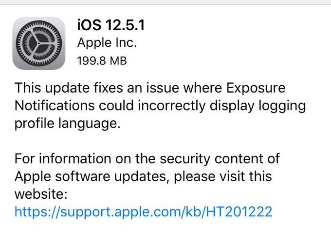 苹果发布 iOS 12.5.1 正式版,修复 COVID -19 暴露通知