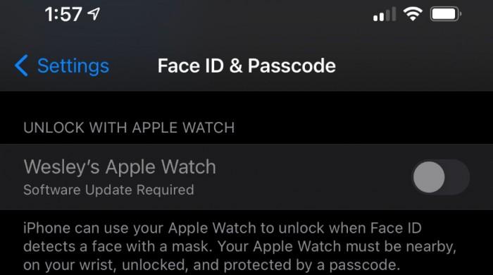 IOS 14.5支持戴口罩时用Apple Watch解锁iPhone
