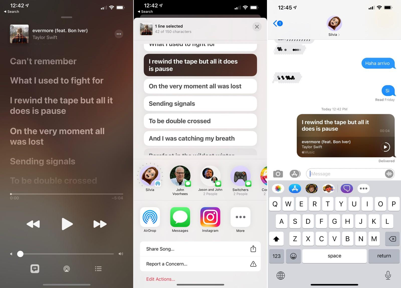 如何将 Apple Music 中的歌词通过 iMessage 分享至好友?