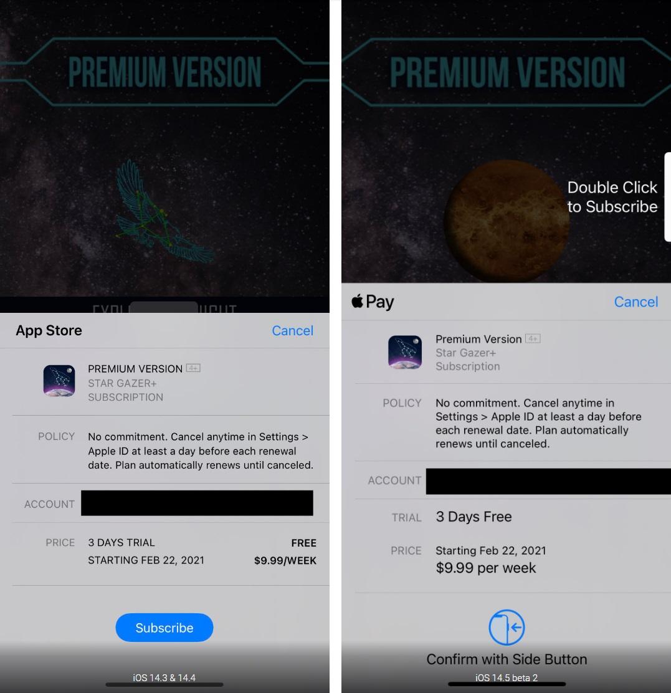 iOS14.5 Beta 2 更新订阅表格弹窗,价格和试用信息更清晰