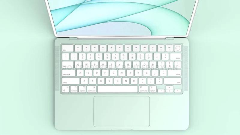 苹果新一代七彩 MacBook Air 渲染图曝光:白色键盘+触控板变小