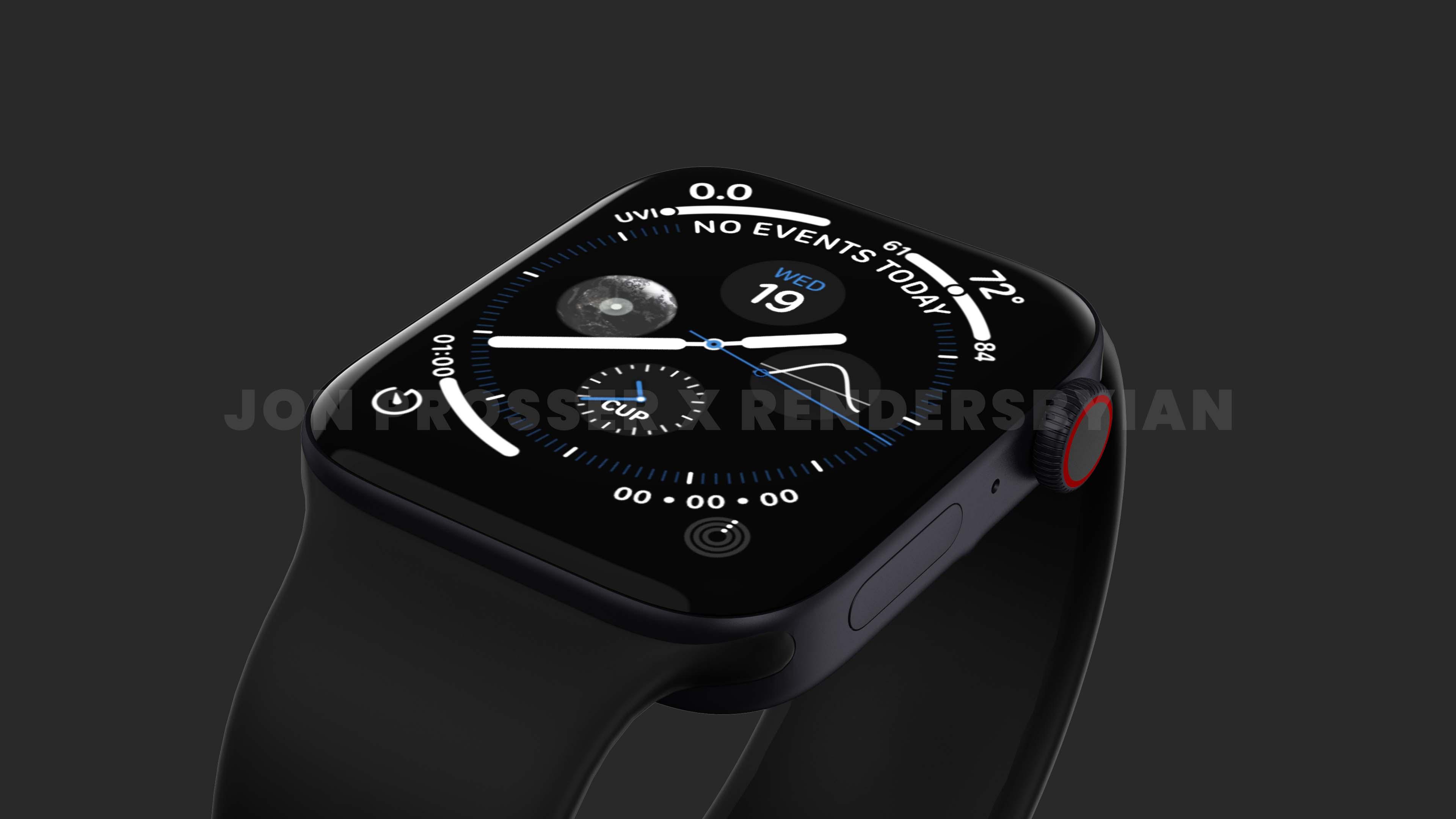 Apple Watch Series 7 渲染图曝光:直角边+全新绿色