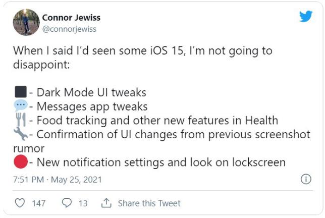 iOS 15将有哪些新功能?食物追踪功能、锁屏UI调整会有吗?