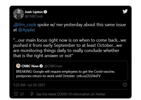 库克证实苹果员工重返办公室的时间至少推迟到 10 月
