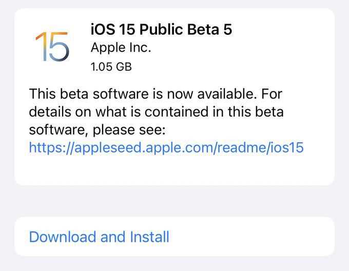苹果发布 iOS 15/iPadOS 15 公测版 Beta 6
