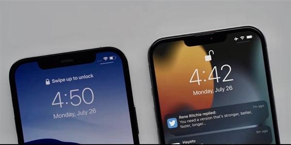 疑似 iPhone 13、iPhone 12 真机对比曝光:刘海面积大幅减少