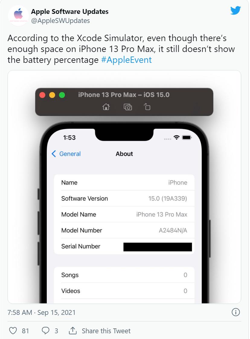 尽管刘海变小,但苹果 iPhone 13 系列状态栏不会显示电池百分比