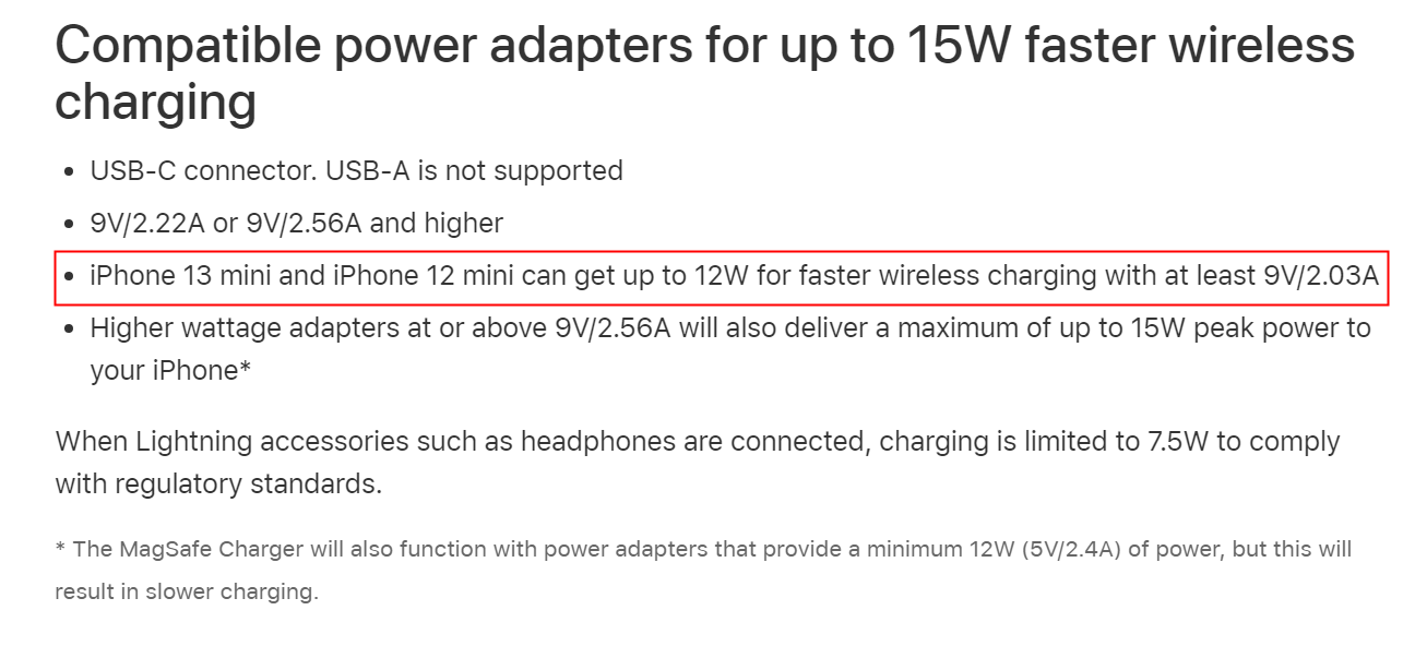 iPhone 13 mini 通過 MagSafe 充電峰值功率仍限制在 12W 以內